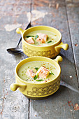 Green pea soup with salmon