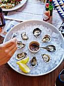 Frische Austern auf Eis mit Tabasco