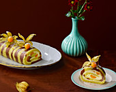 A zebra Swiss roll with physalis