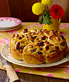 Raisin and almond spiral cake