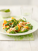 Crab, melon, and rocket salad