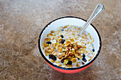 Muesli with oats, cornflakes, dried fruits and nuts