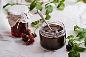 Blackberry jam and blackberry jelly