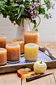 Jars of homemade apple sauce