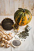 Poppyseeds, pumpkin seeds and sunflower seeds (oleaginous fruit)
