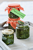 Ramsons (wild garlic) pesto in jar