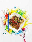 Chow mein noodles with beef (China)