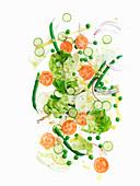 Bistro-Salat mit grünen Bohnen, Erbsen und Tomaten