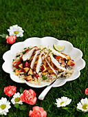 Summery bulgur wheat salad with chicken and nectarines