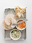 Rice cakes with two dips
