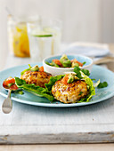 Spicy turkey patties with avocado salsa