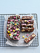 Chocolate fridge bars with colourful chocolate beans