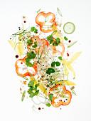 Würziger Gemüsesalat mit Sprossen