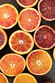 Bloody oranges cut in to half