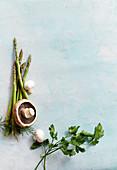 Mushrooms, green asparagus and herbs