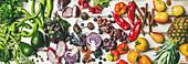 Stillleben mit Obst, Gemüse, Kräutern und Superfoods (bildfüllend, Aufsicht)