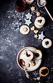 Pistachio strawberry linzer cookies