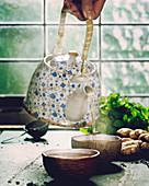 Tea composition near the old window