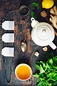 Tea composition on rustic background