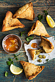 Punjabi samosas with mango chutney (India)