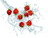 Strawberries making a splash
