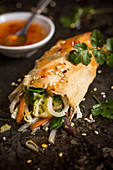 Spring roll with vegetable filling and sweet chilling dipping sauce