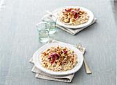 Risotto with radicchio, salsiccia, hazelnuts and parmesan