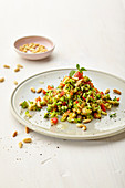 Fruity broccoli salad with pine nuts