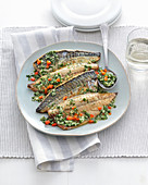 Baked mackerel with sour parsley sauce (Italy)