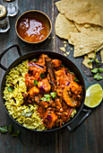 Vegetarian tikka masala with quorn, rice, chutney and papadams (India)