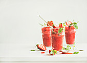 Healthy low calorie summer treat, Strawberry and champaigne granita, slushie or shaved ice dessert in glasses