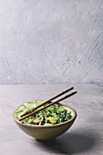 Ceramic bowl with vegetarian green pea noodles with sliced cucumber, celery, spinach, quail egg yolk, pine nuts served with wooden chopsticks