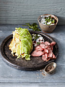 Pointed cabbage with roast beef, and feta and olive cream (low carb)