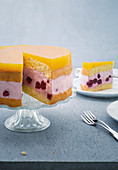 Cherry quark mousse cake with a passion fruit topping