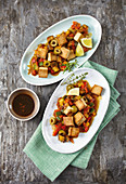 Vegetables with marinated tofu