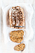 Light poppyseed bread, sliced
