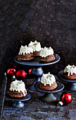 Mini Bundt cakes with frosting for Christmas