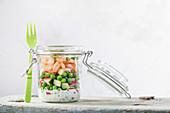 Low-carb prawn cocktail in a jar to take away