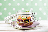 Low-carb lentil salad in a jar to take away