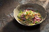 Glass noodle salad with smoked beef