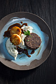 Roasted boiled sausages with Jerusalem artichoke fritters and artichoke cream