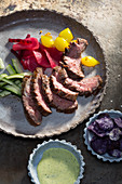 Flank steak with pickled vegetables