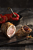 Iberico pork roulade with stuffed pointed pepper