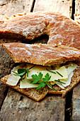 Bruschetta amde with rye bread (Italy)