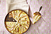 Pear and feta tart, sliced