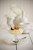 Figs and rice pudding on white