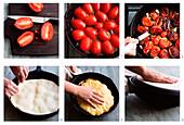Preparing tomato tarte tatin