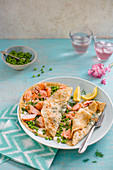 savoury pancakes with dill salmon, sour creme and peas