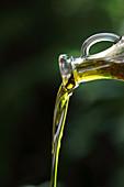 Olivenöl fliesst aus einer Karaffe