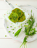 Pea pancakes with herbs